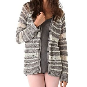 RAG and BONE Crochet Catarina Sweater Gray Stripe